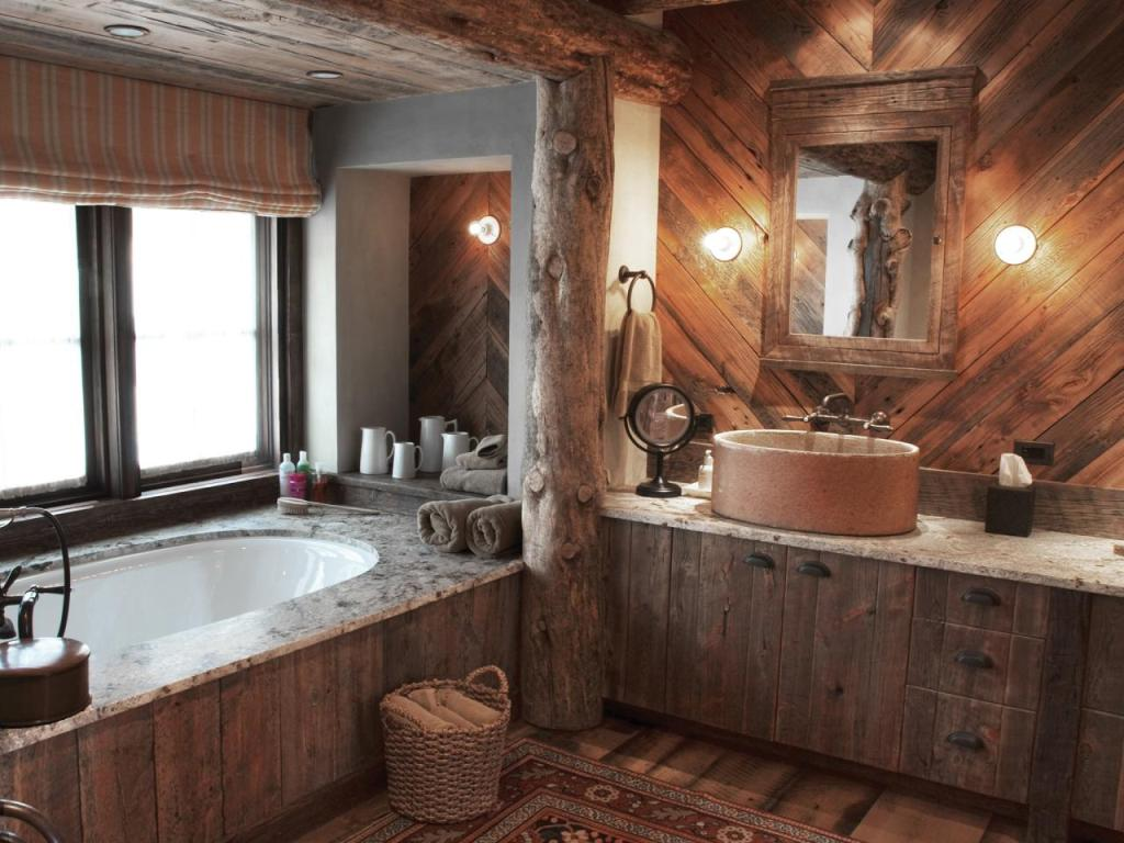 Rustic Bathroom With Wood Walls and Soaking Tub