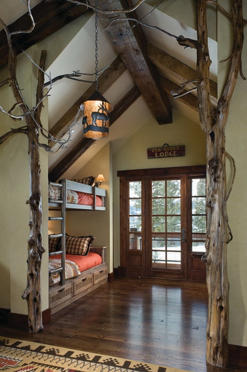 Rustic Kids Bedroom with Pendant light
