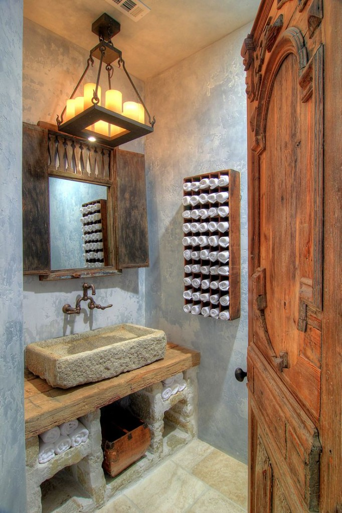 Rustic-bathroom-ideas-reclaimed wood and stone