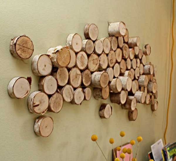 Wood logs wall art