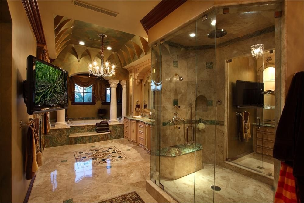traditional-bathroom-with-walk-in-shower-and-vaulted-ceiling