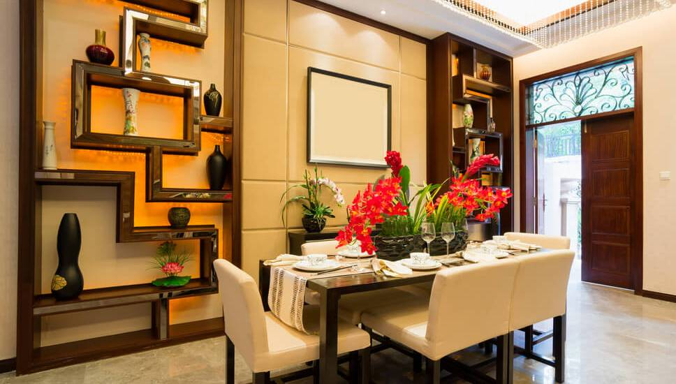 Asian-inspired dining room just off the foyer of luxury home