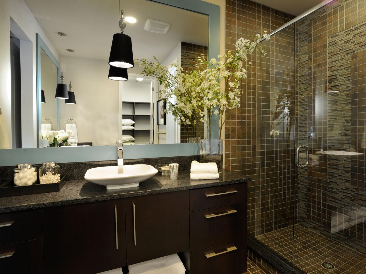 Bathroom with an Earthy Stone Shower