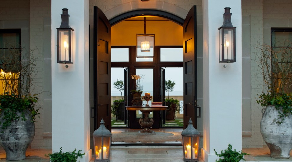 Brass-Candle-Lantern-in-Entry-Contemporary-design-ideas