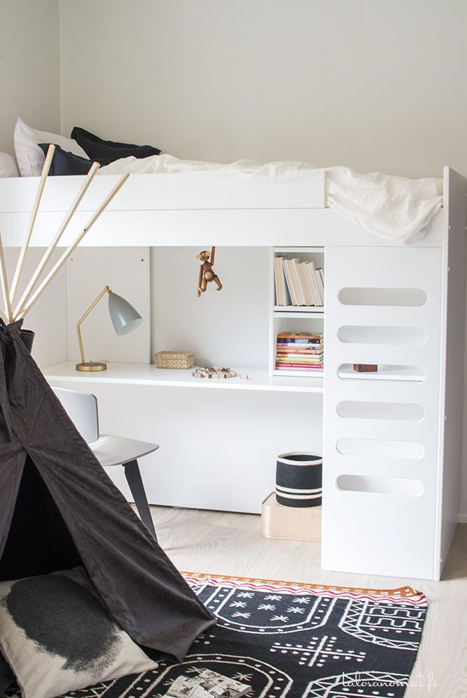 Bright and modern kids bedroom with bunk bed and teepee tent
