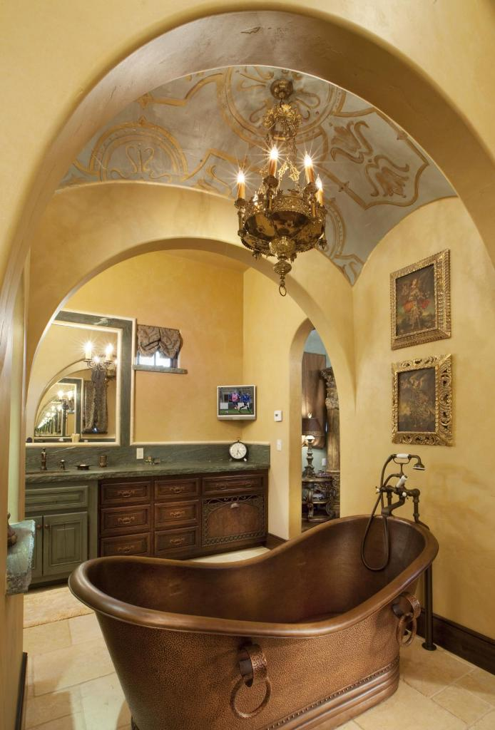Copper Tub in Elegant Mediterranean Bathroom