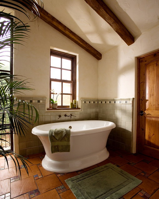 Corner Tubs in Mediterranean Bathroom