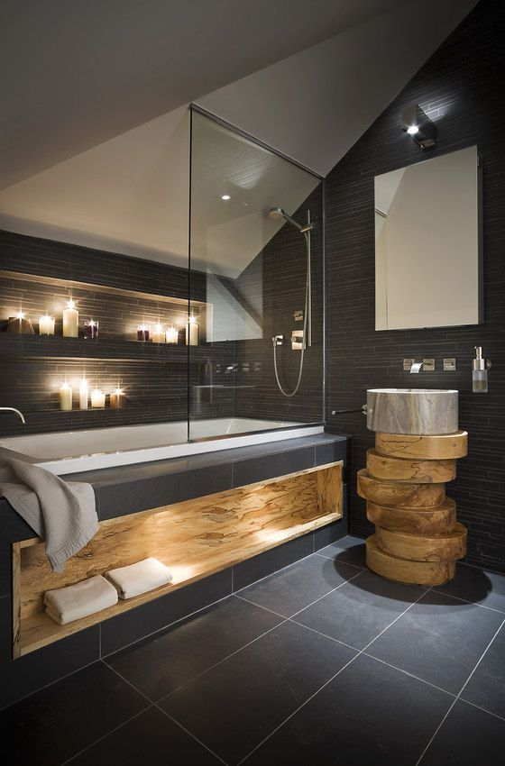 Dark Toned Bathroom with various textures