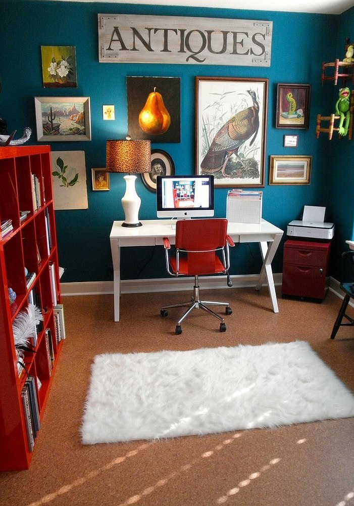 Eclectic Home Office Ideas in Cheerful Blue