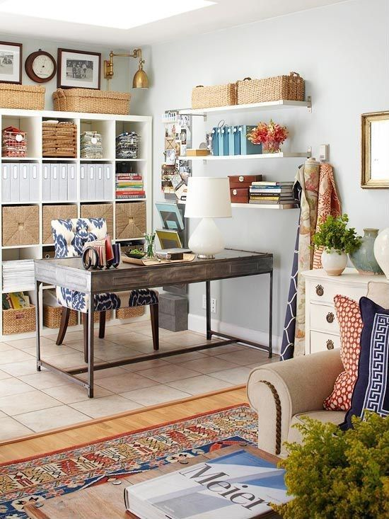 Eclectic Home Office with Ikea kallax shelving