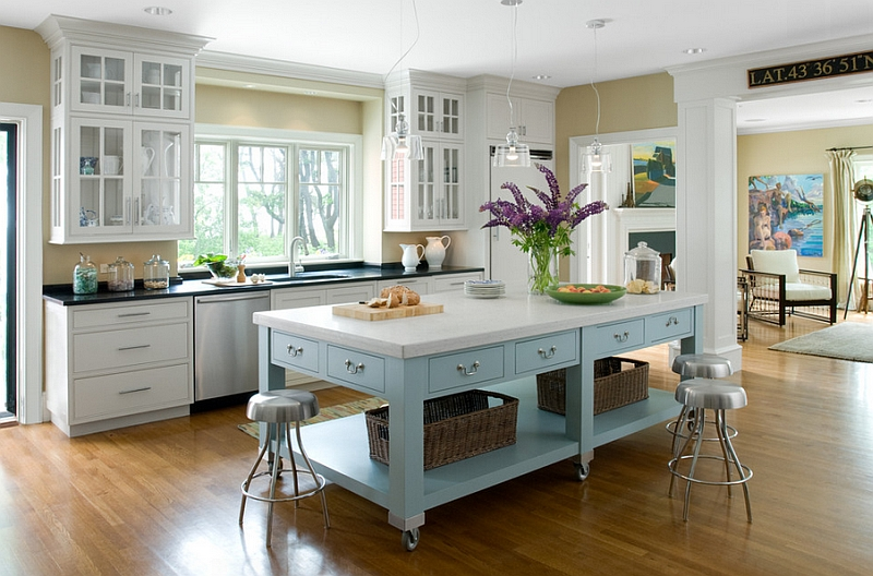 Exquisite-kitchen-island-on-casters-in-beautiful-blue-and-white-with-ample-storage