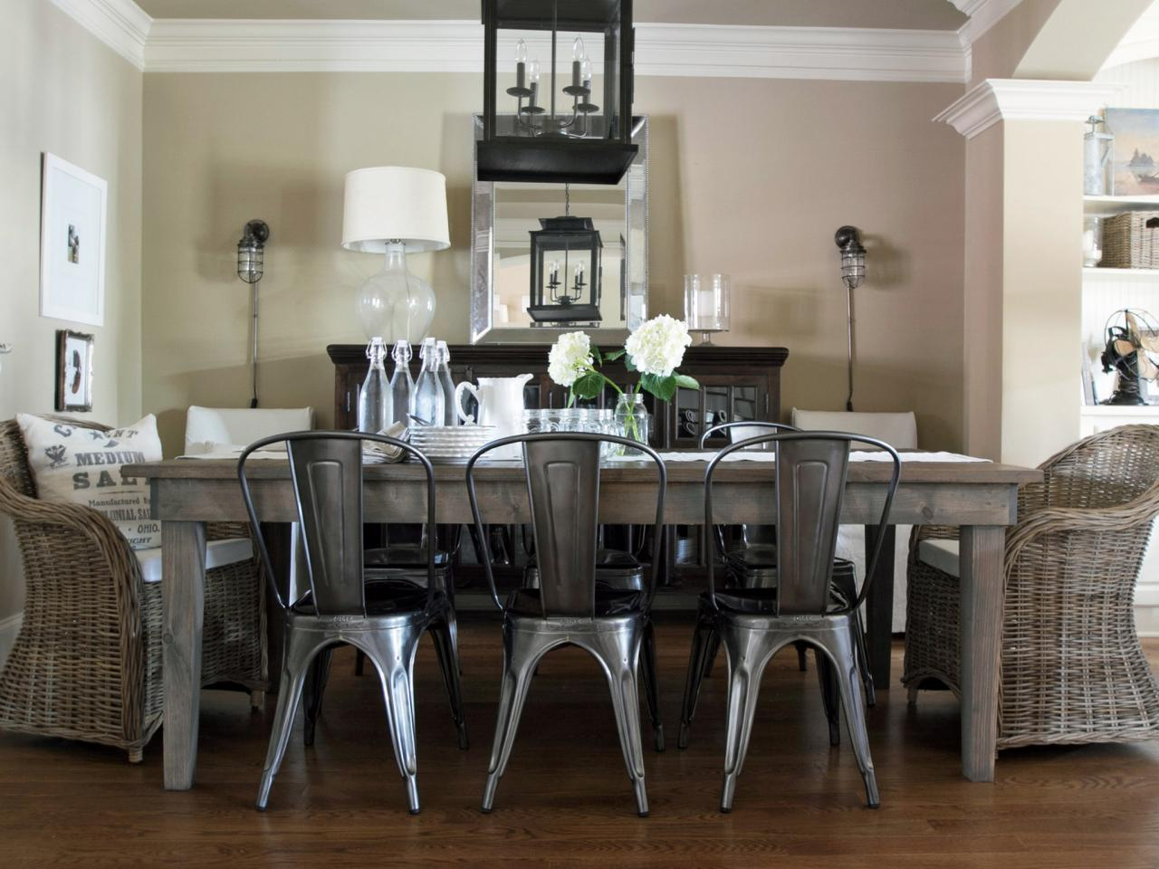 Industrial Chic Dining Room With Steel Chairs and Wood Table