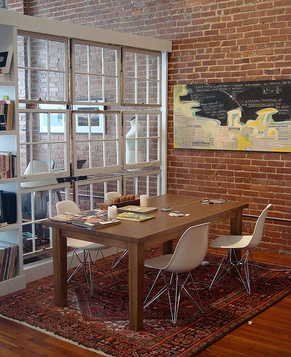 Industrial dining room with a creative room divider