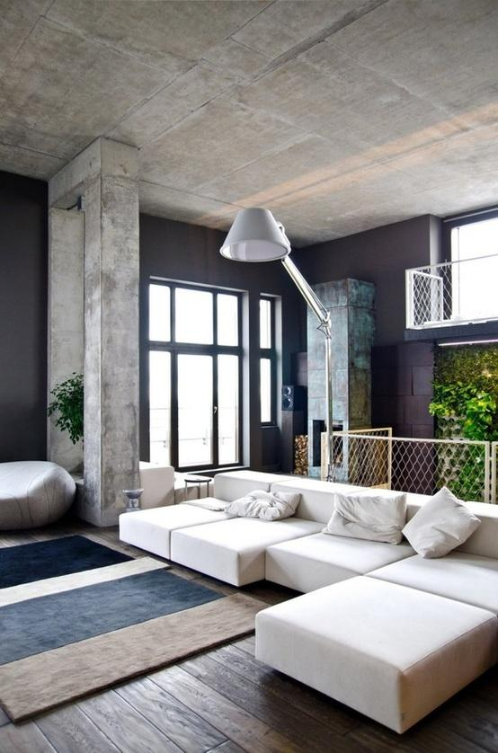 Industrial feel living room