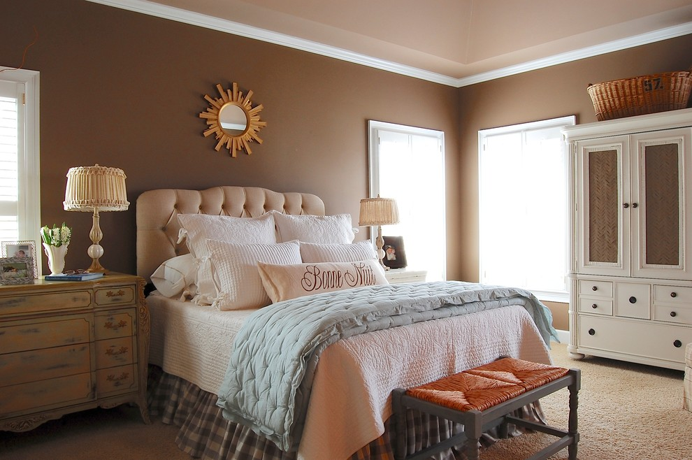 Innovative-crown-stencil-in-Bedroom-Farmhouse-with-Decorative-Paint-Color-Ideas