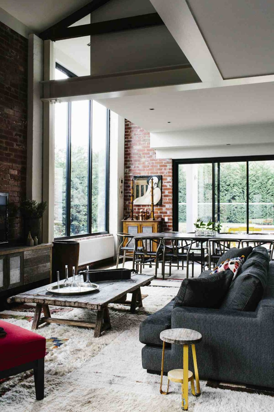 Interior Cozy Living Room In Industrial And Ethnic Loft