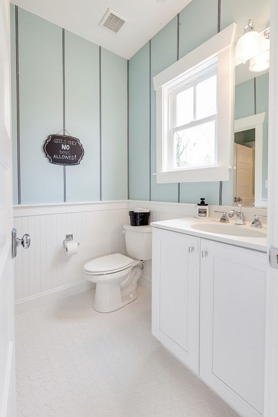 Kids Bathroom with Beadboard