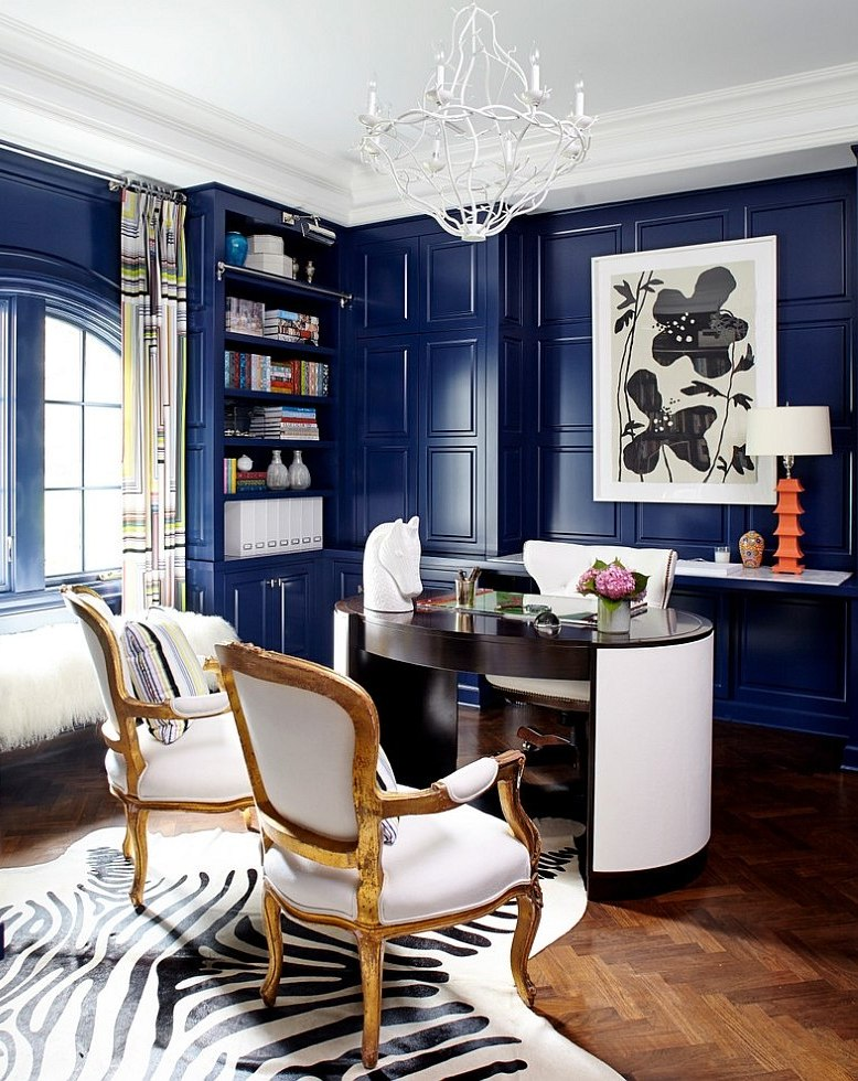 Leather-desk-and-antique-chairs-add-sophistication-to-the-stylish-home-office