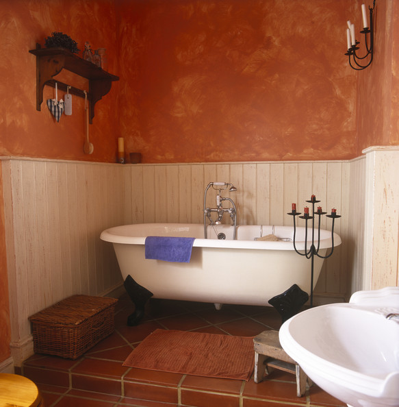 Mediterranean Bath Design Clawfoot Tub