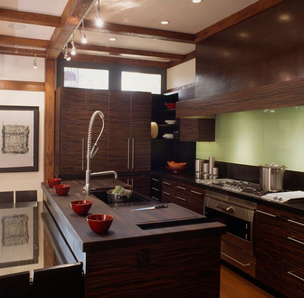 Modern Asian kitchen design engulfed in ample dark wood
