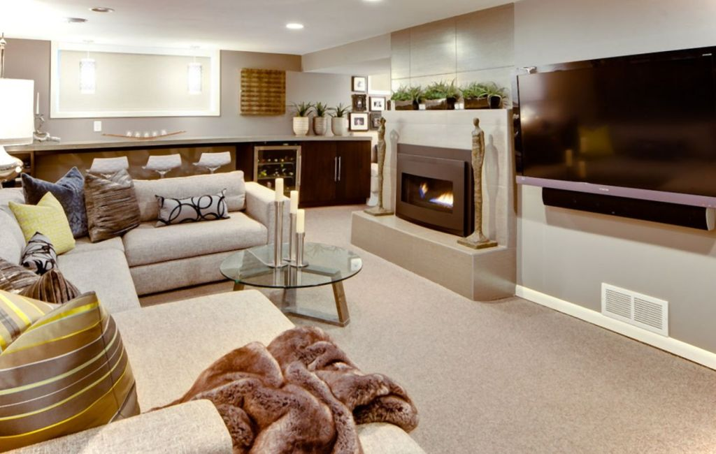 Modern Basement Finishing Ideas For Living Room