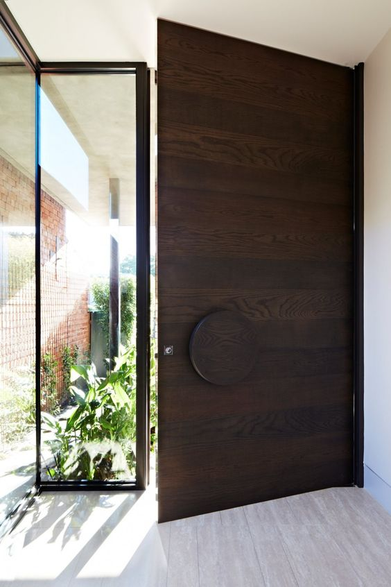 Modern oversized wood entry door