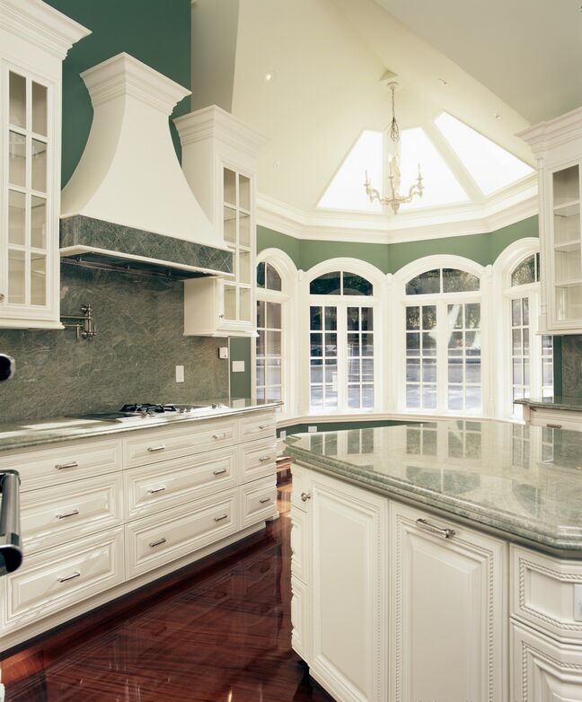 kitchen-cabinets-traditional-white-wood-hood-island-luxury