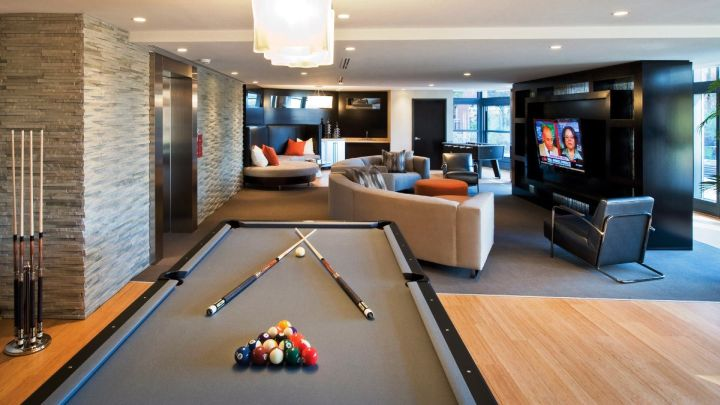 modern basement as game room