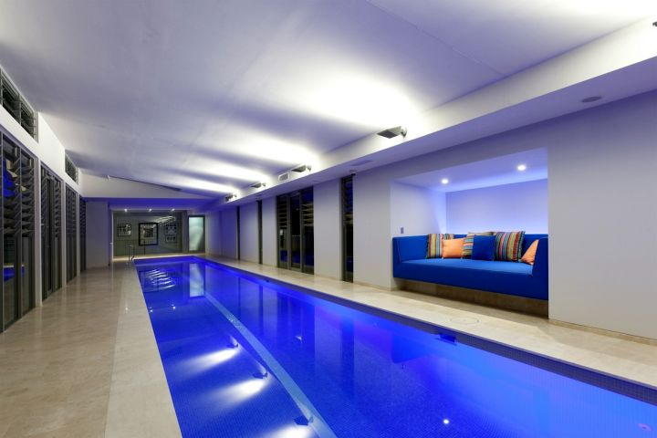modern basement indoor lap pool