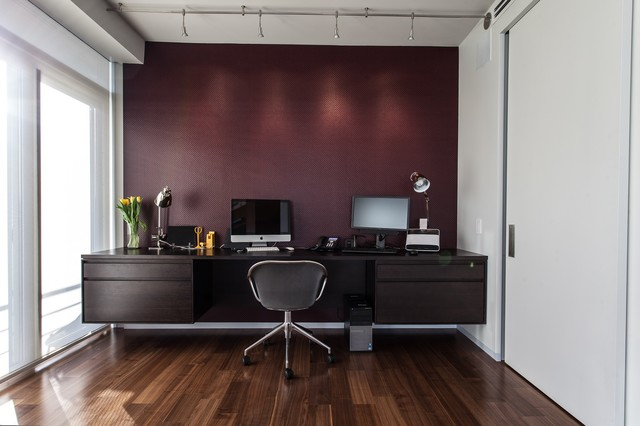 modern home office with hardwood flooring