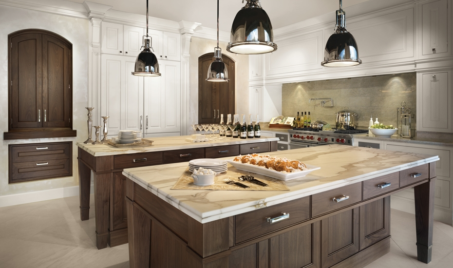 wooden island with granite countertop