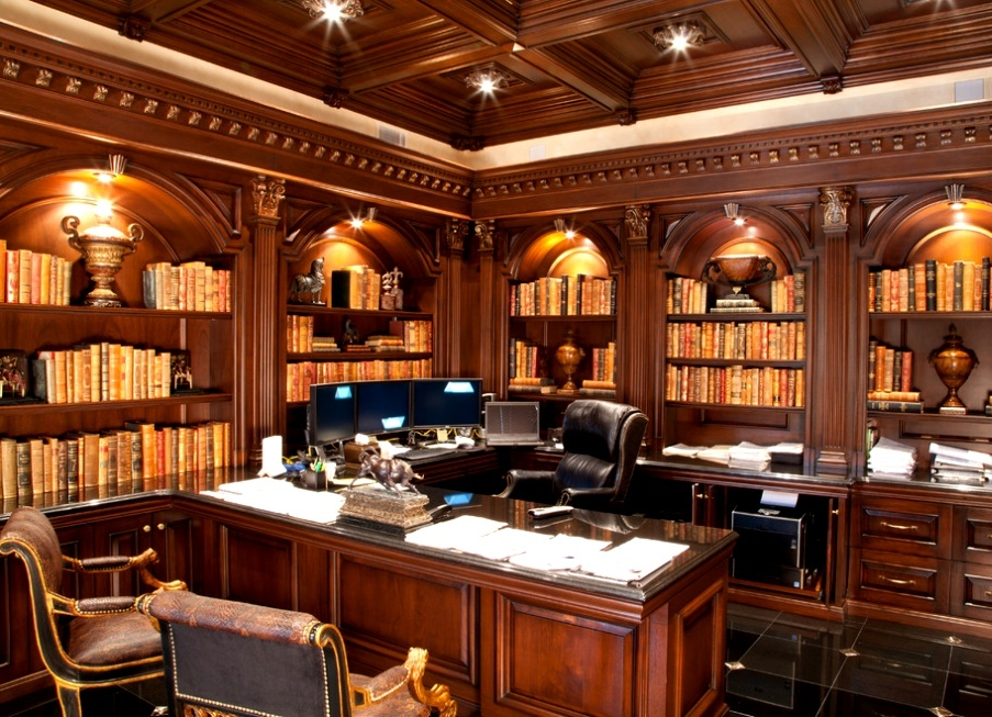 Arm-chairs-and-beamed-ceiling-in-traditional-home-office