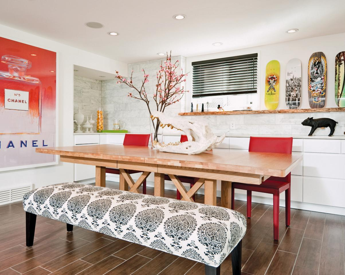 Colorful Eclectic Dining Room With Bench Seating