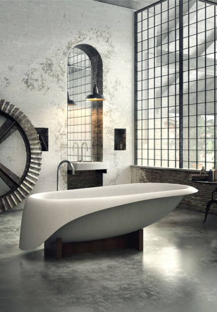 Dramatic Industrial Bathroom
