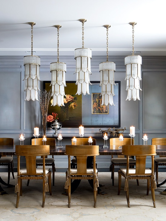 Eclectic Dining Room with Pendant Light, Italian Chandelier of Tiered Crystal and Gilt Metal,