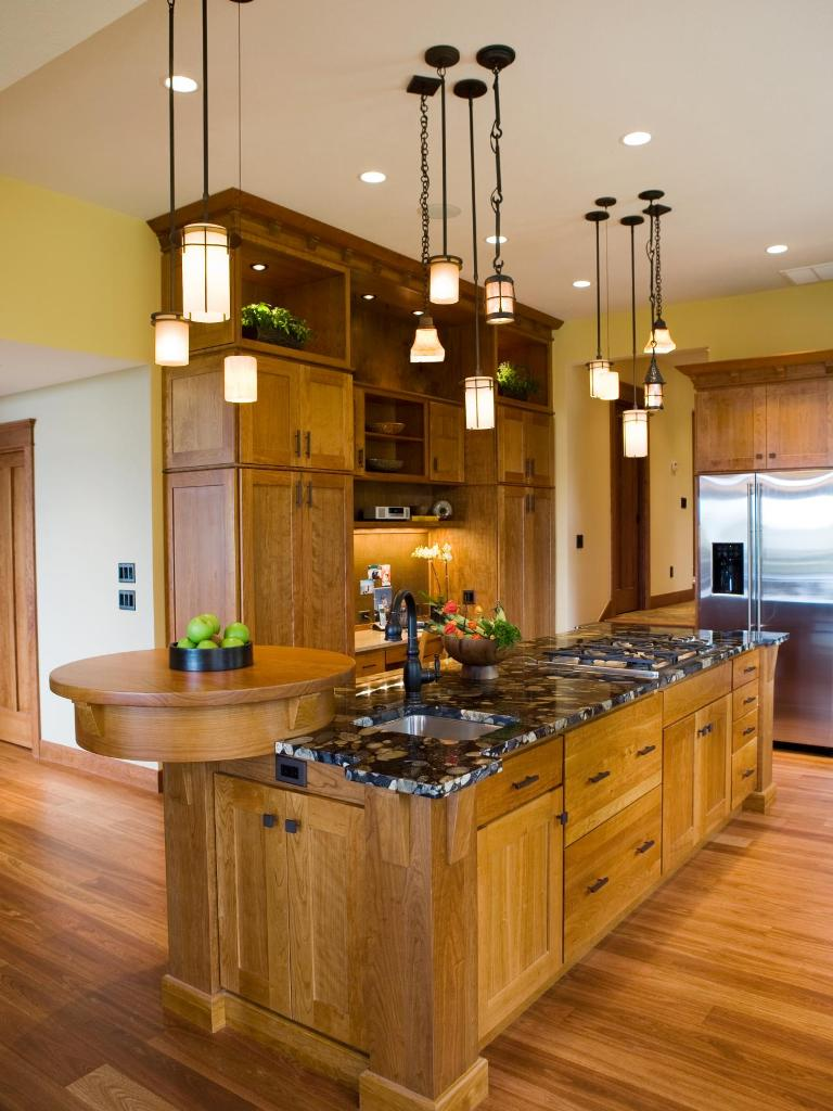 Gourmet Craftsman Kitchen With Multiple Pendant Lights