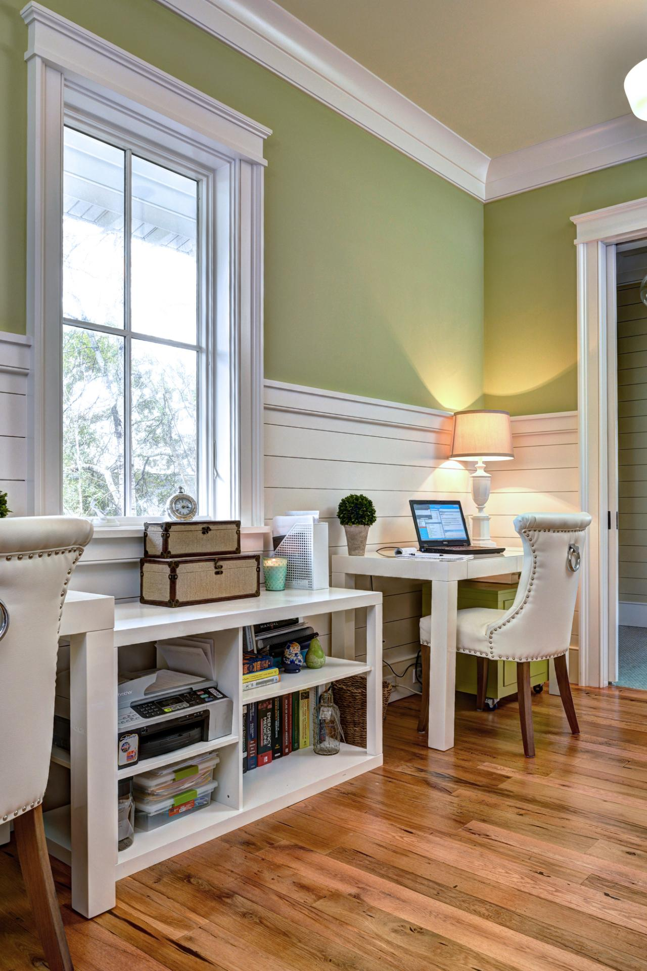 Home Office with Green Walls and Costal-style Wainscoting