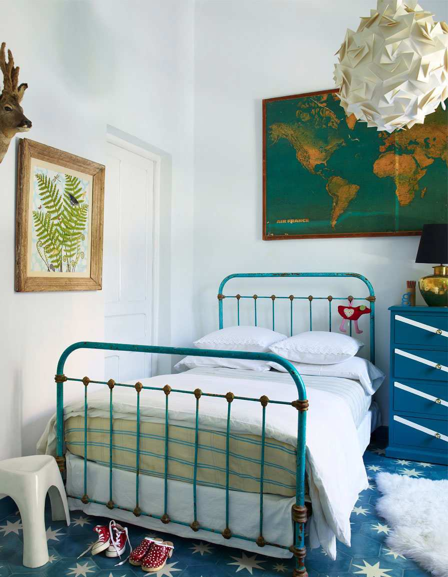 Teal and Blue Themed Eclectic Boys Room
