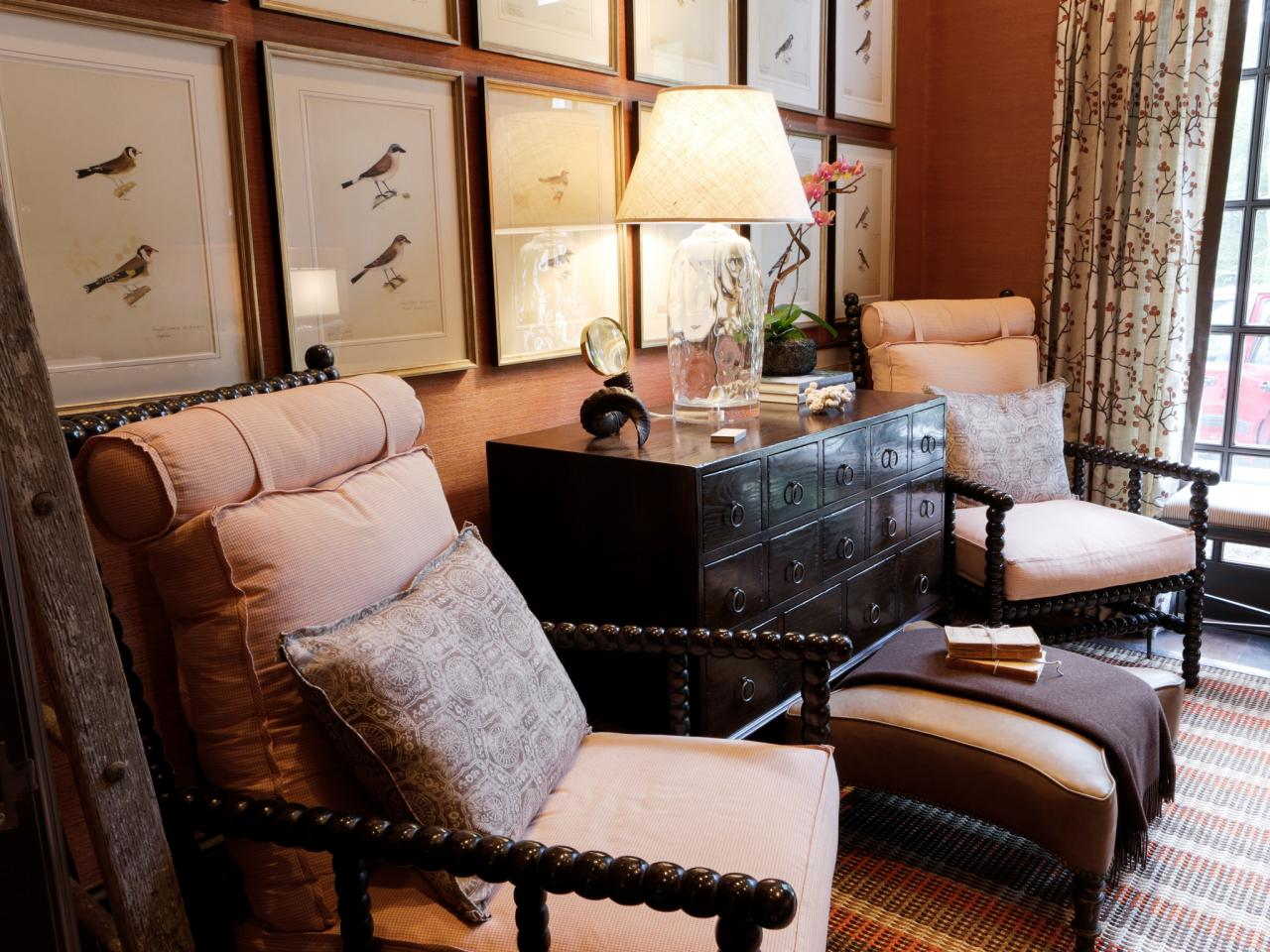 Traditional Home Office Desk and Wood Armchairs with Upholstered Cushions