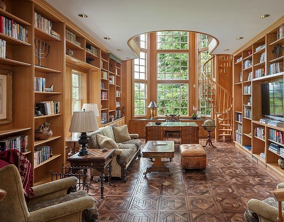 Traditional Home Office with Spiral staircase, Hardwood floors, High ceiling