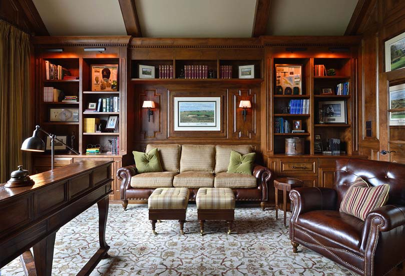 Traditional home office with leather sofa