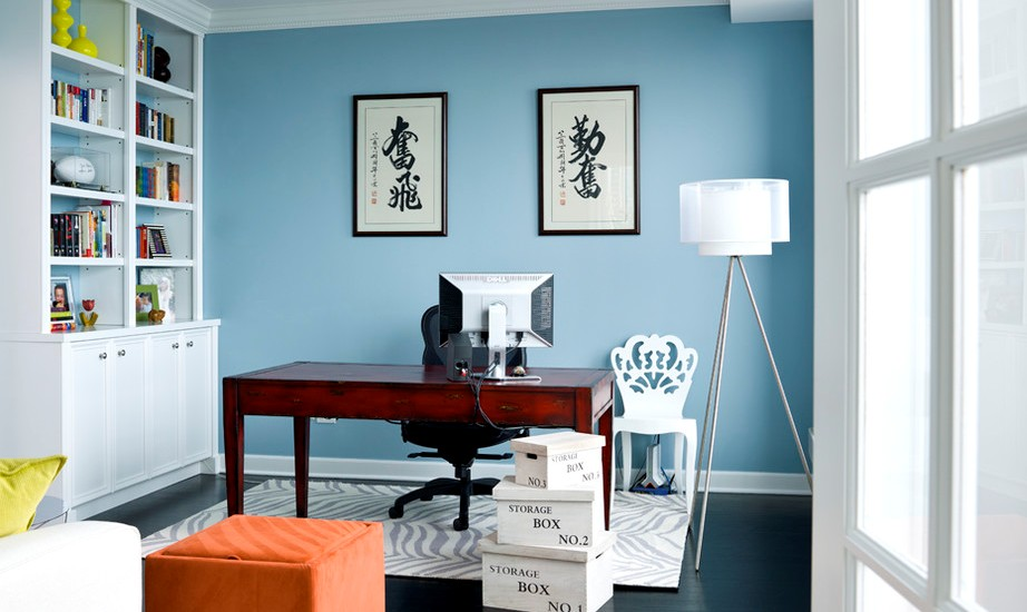 Transitional Home Office with Asian Calligraphy in Chicago