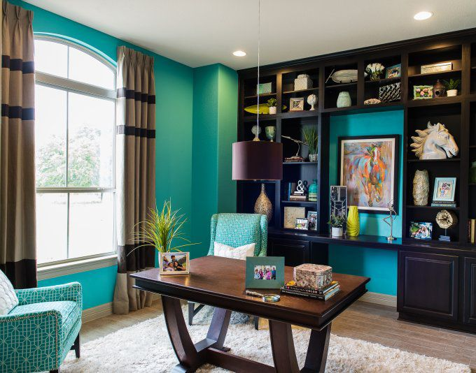 Turquoise home office study