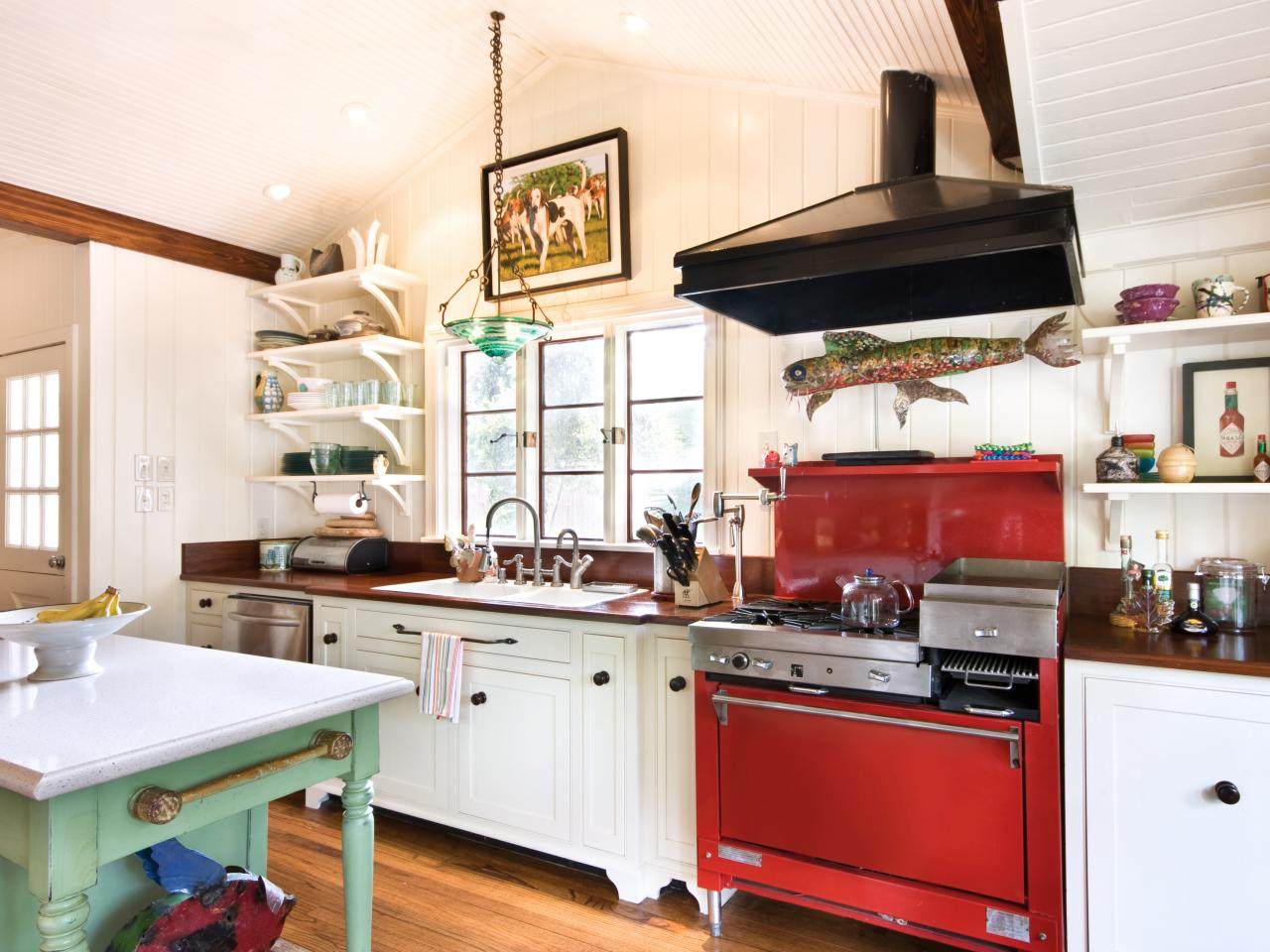 White Craftsman Kitchen With Red Oven