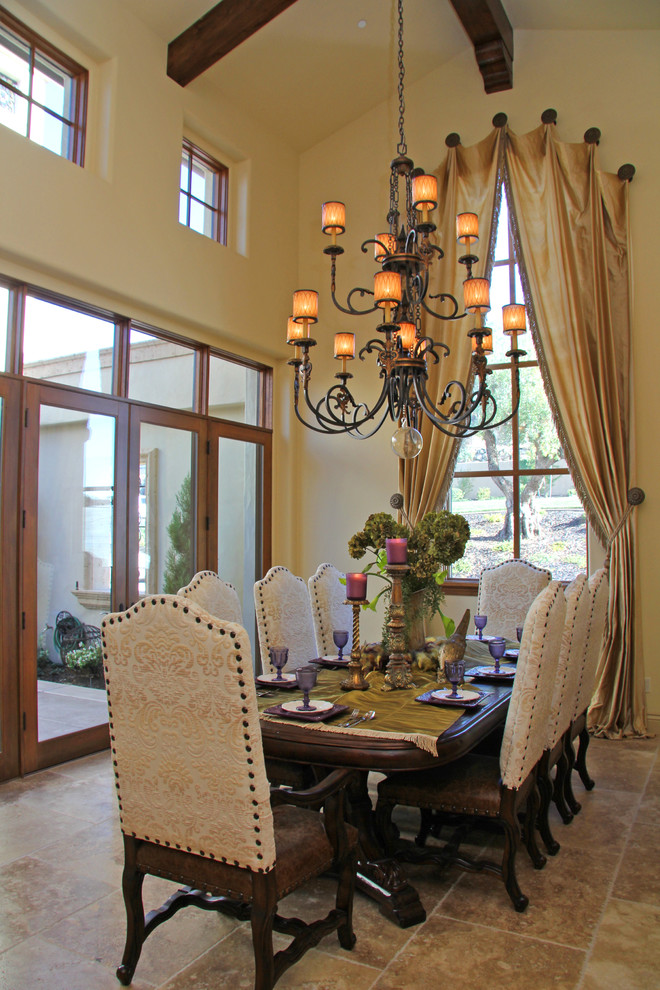 formal-window-treatments-Dining-Room-Mediterranean-with-beige-tile-floor-chandelier