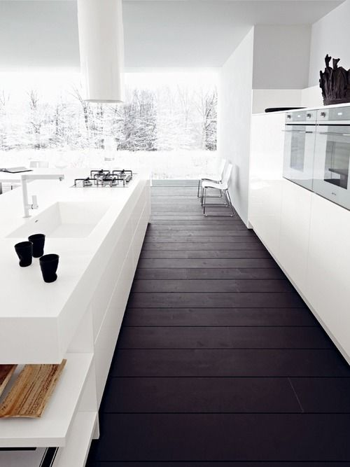 white kitchen and dark floorboards