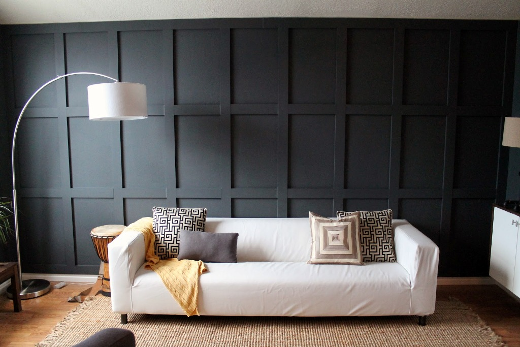 Black Wood Panel Contemporary Living Room