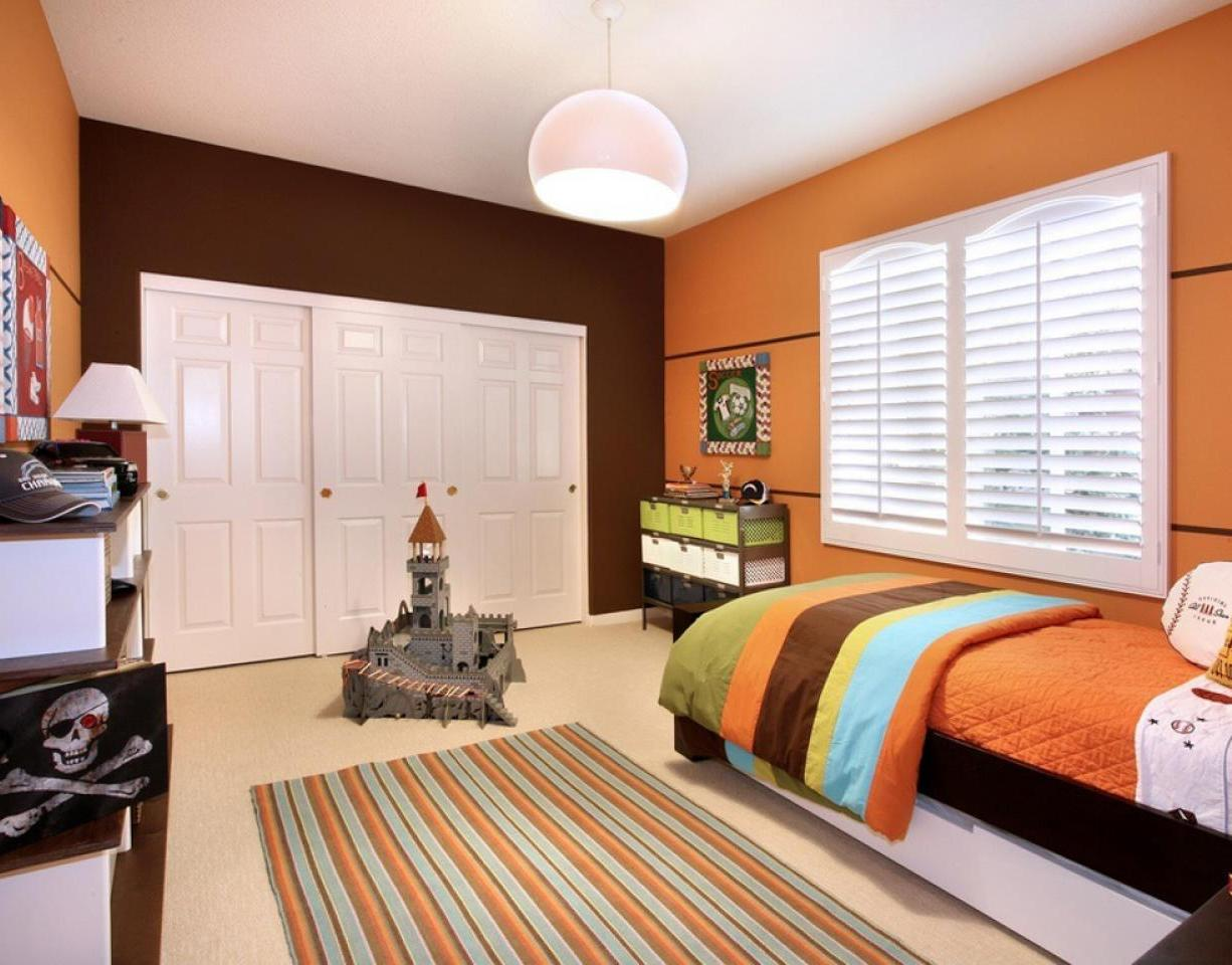 Bright Orange Color Kids Bedroom