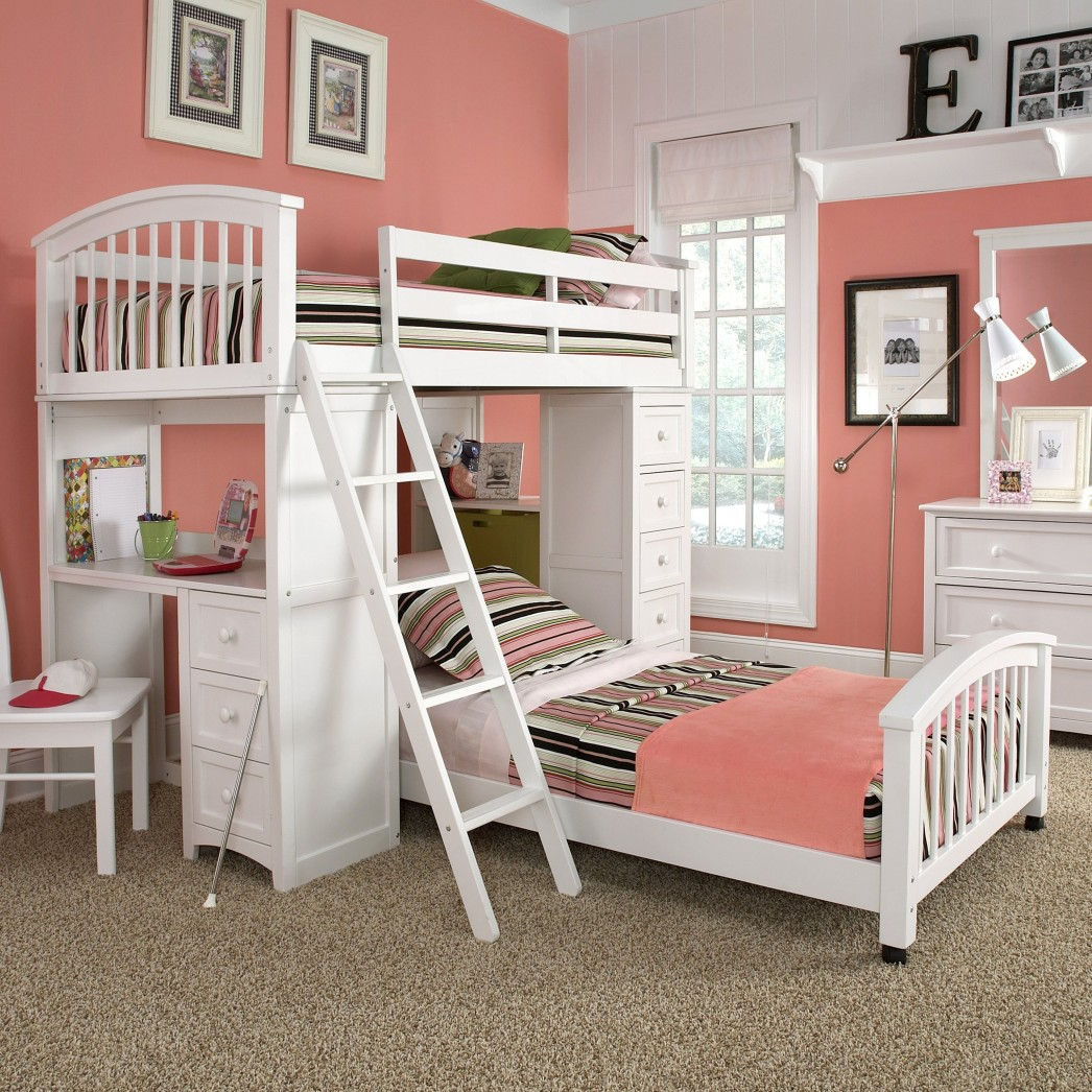 Creative Pink Colored Girls Bedroom