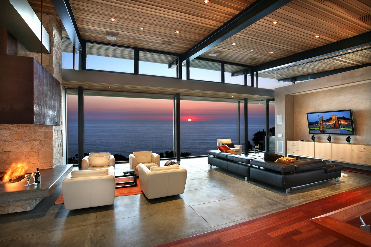 Elegant Contemporary Living Room With View